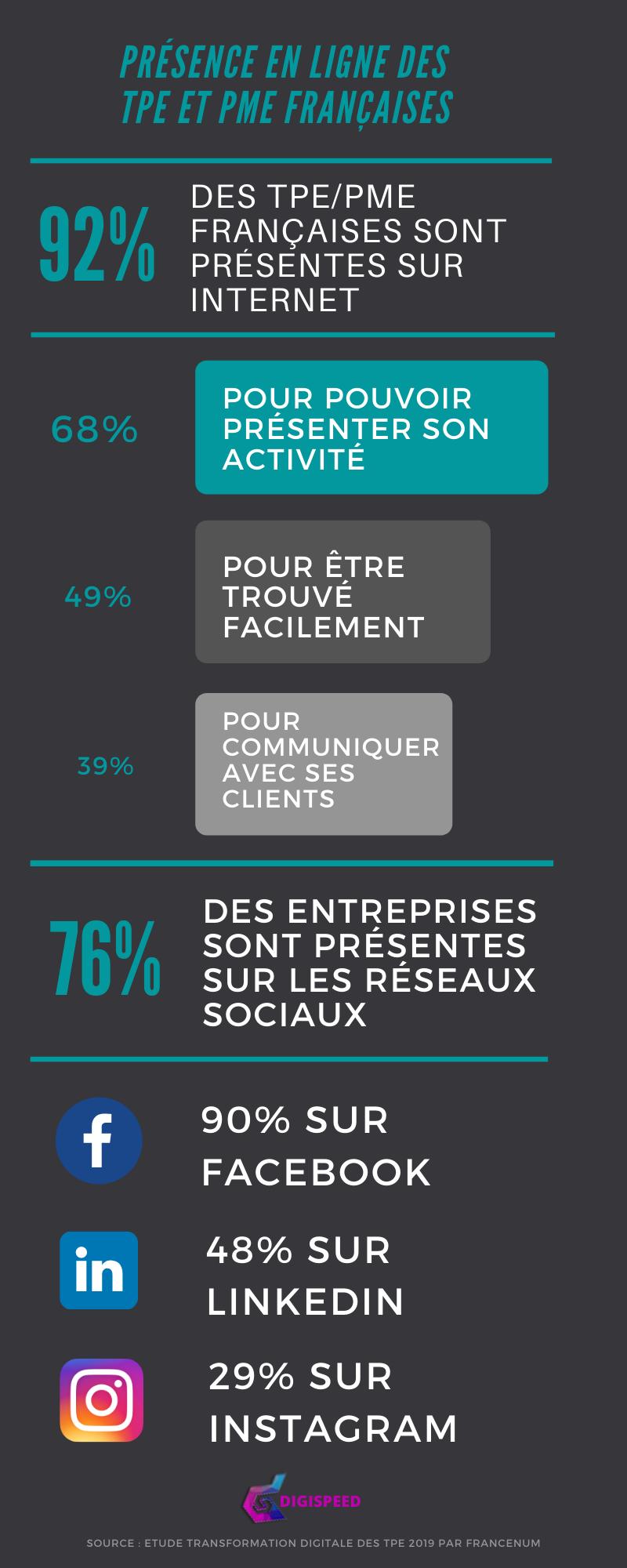 statistiques présence en ligne et transformation digitale des TPE et PME françaises